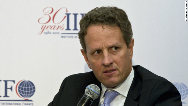U.S. Treasury Secretary Timothy Geithner speaks at a high level public-private sector conference in Mexico City on Saturday.