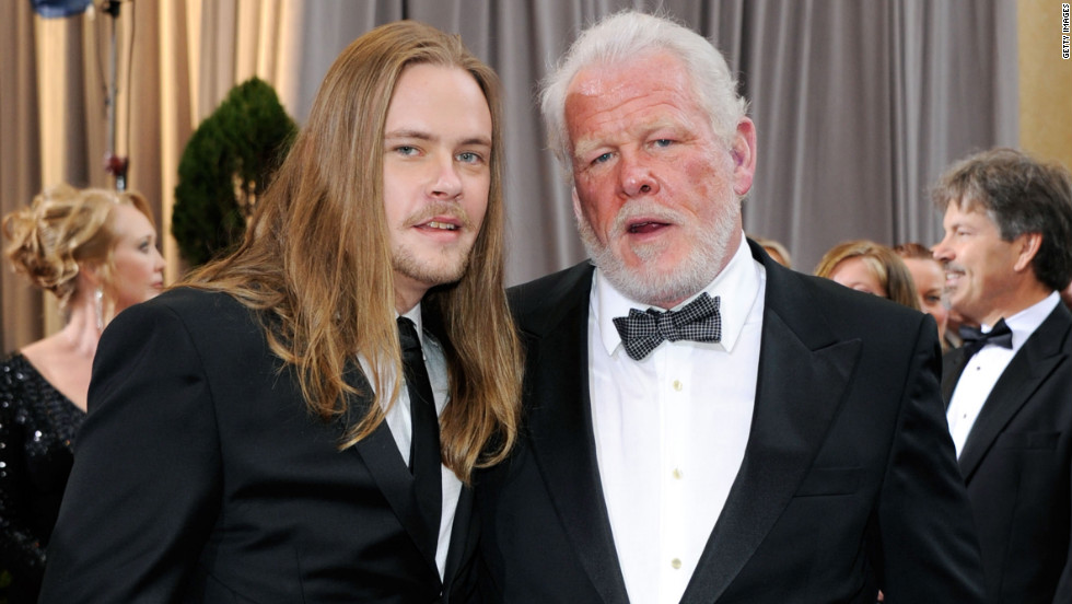 "Nick Nolte, right, who was nominated for his role in ""Warrior,"" attended the ceremony with his son, Brawley Nolte."