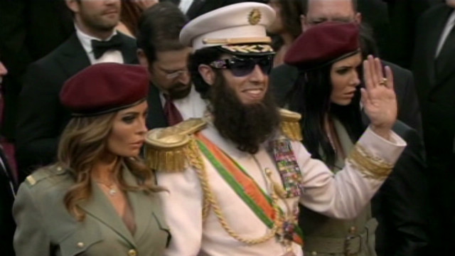 'The Dictator' crashes Oscar red carpet