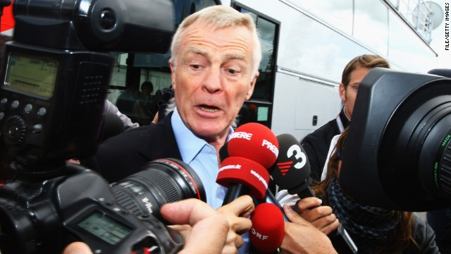 NORTHAMPTON, UNITED KINGDOM - JUNE 19: F.I.A. President Max Mosley is surrounded by the media in the paddock during practice for the British Formula One Grand Prix at Silverstone on June 19, 2009 in Northampton, England. (Photo by Paul Gilham/Getty Images)