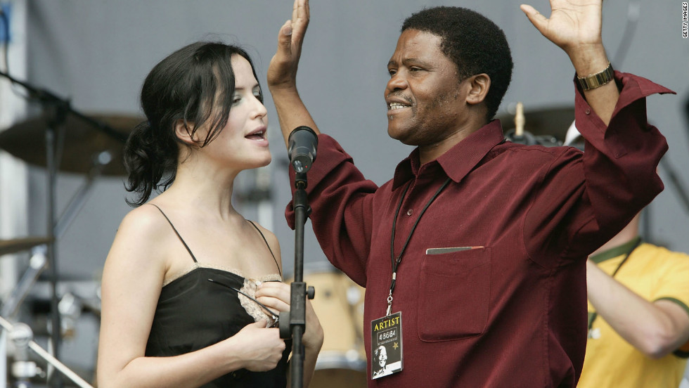 Singer Andrea Corr and Shabalala during rehearsals prior to the 46664 concert on November 27, 2003 in Cape Town, South Africa.