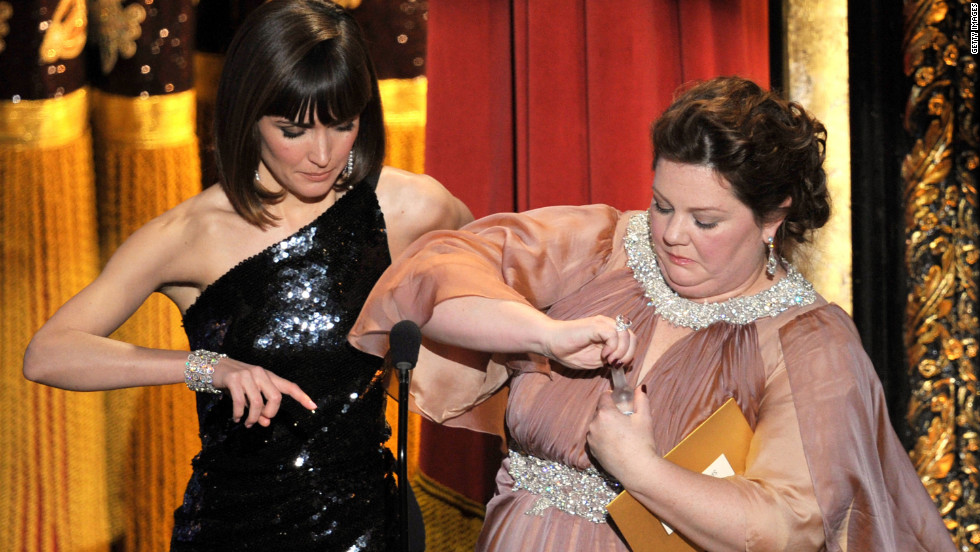 "You can always count on the ""Bridesmaids"" cast for a good laugh. Playing off the drinking game that Kristen Wiig, Maya Rudolph and Melissa McCarthy shared at the Screen Actors Guild Awards, Rose Byrne and McCarthy had to drink from mini vodka bottles (one of which came from McCarthy's cleavage) when someone yelled ""Scorsese."""