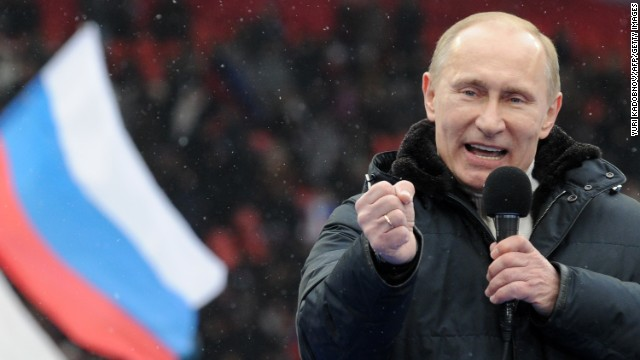 Vladimir Putin speaks at rally with his supporters in Moscow on February 23, 2012.