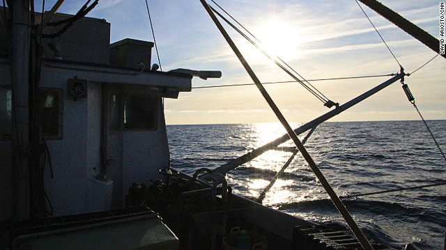 Sunrise aboard a fishing trawler in the Gulf of Maine.