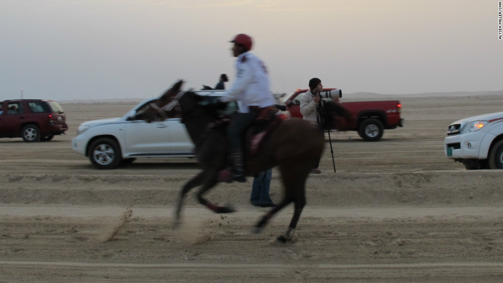 A convoy of land cruisers follow the horses, issuing instructions to their riders during each of the lap of the 30 km course.