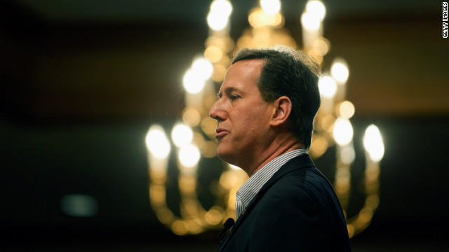 Rick Santorum campaigns Monday in  Livonia, Michigan. His mingling of church and state worries commentator Dean Obeidallah.