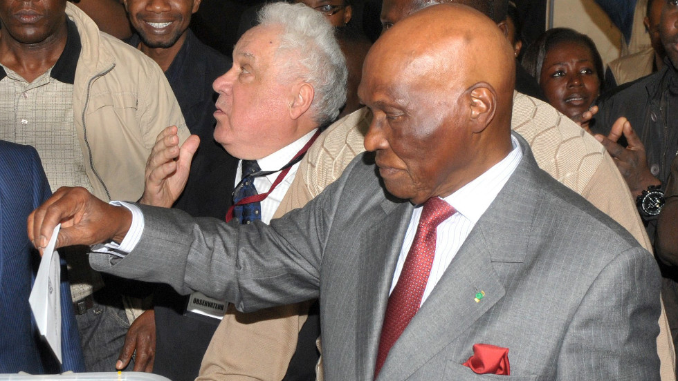 February: Abdoulaye Wade, the former president of Senegal, cast his vote at a polling station in Dakar on February 26. The 85-year-old was seeking a third term, but was ousted in the election by voters in favor of his protege, Macky Sall.
