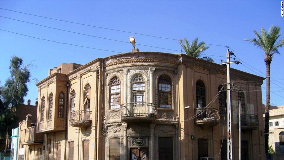 An ornate but faded 1930s house in the Aywadhiya neighborhood of Baghdad, photographed in 2011.
