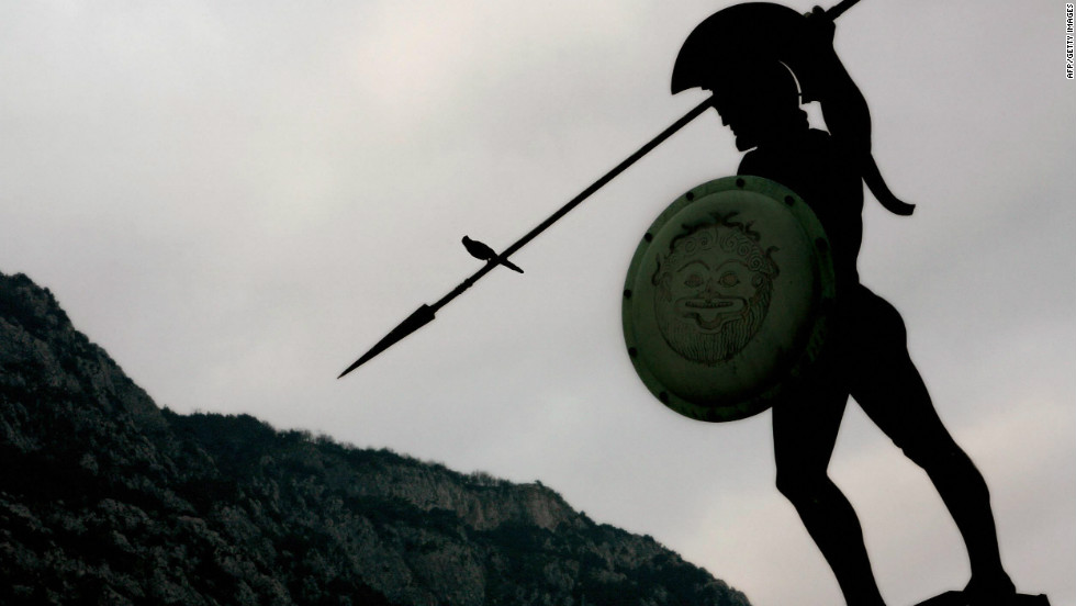 The statue of King Leonidas of ancient Sparta stands over the battlefield of Thermopylae, some 170 kilometres north of Athens.