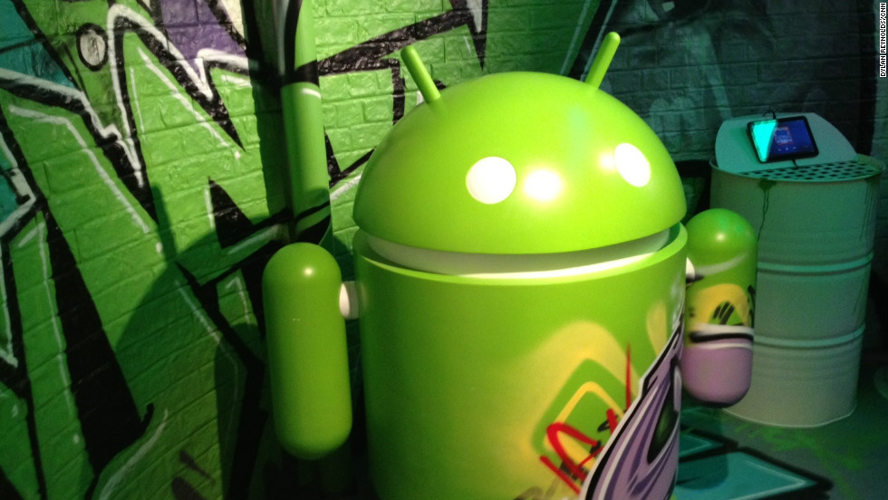 The robot symbol of the Android operating system guards a display at the Mobile World Congress in Barcelona.