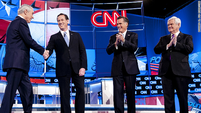 Ron Paul, Rick Santorum, Mitt Romney and Newt Gingrich (L-R) are all hoping for big wins on Super Tuesday.