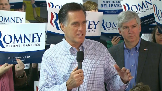 Mitt Romney campaigns in Michigan on Tuesday. CNN projects him as the winner in Arizona.