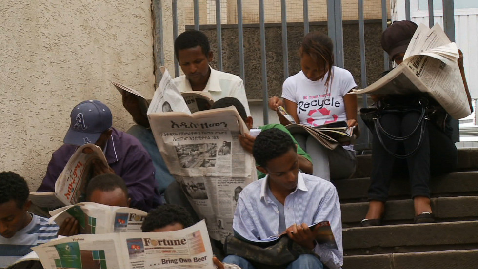 On the streets of Addis Ababa, newspaper vendors not only sell their wares, they rent them too. It is not uncommon for one newspaper to be read up to 20 times a day!