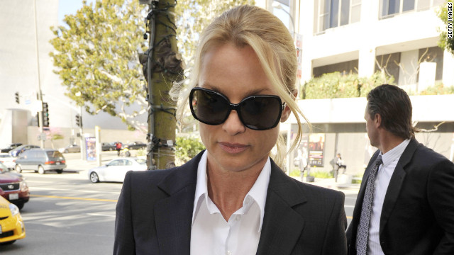 LOS ANGELES, CA - MARCH 01: Nicollette Sheridan arrives in court where she will be taking the stand for opening arguments in her 'Desperate Housewives' lawsuit at County Courthouse on March 1, 2012 in Los Angeles, California. Sheridan is claiming that killing her character, Edie Britt, is wrongful termination of employment. (Photo by Toby Canham/Getty Images)