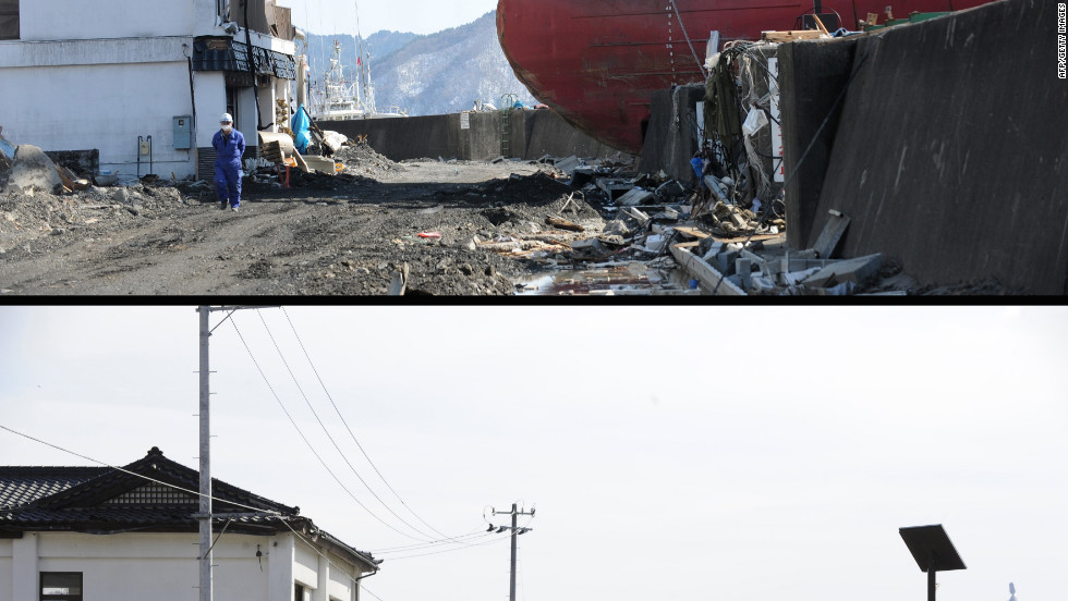"The ""Asia Sympathy"" run aground by the March 11 tsunami in Kamaishi, Iwate Prefecture, on March 18, 2011 (top) and the same area on January 16, 2012."