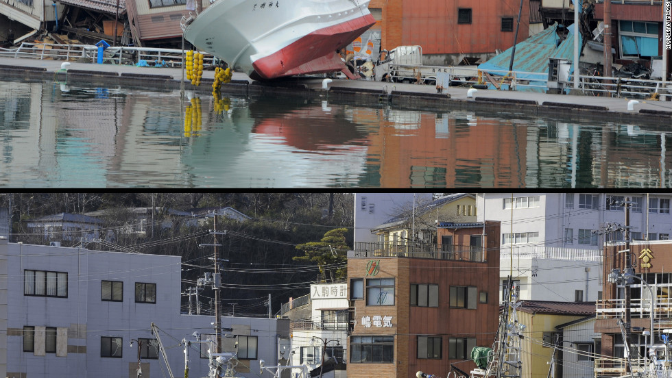 Photot of a fishing boat washed up on the shore of Kesennuma in Miyagi prefecture March 16,2011 (top), and the same area taken on January 14, 2012.