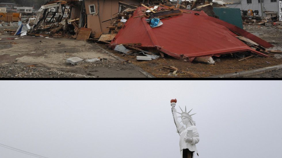 A replica Statue of Liberty standing next to tsunami damaged buildings at Ishinomaki in Miyagi prefecture on March 15, 2011 (top) and the same area on January 13, 2012.