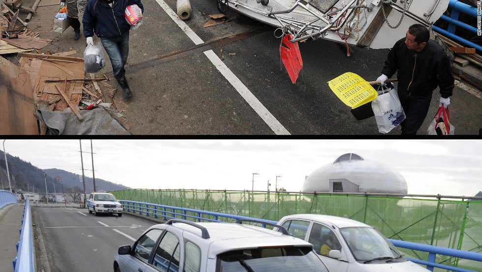 A bridge in Hishonomaki, Miyagi prefecture on March 15, 2011 (top) and the same area on January 13, 2012.