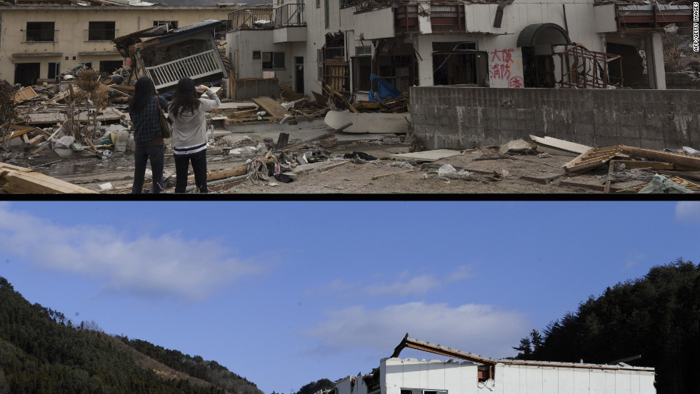 A  photo of a sightseeing boat washed by the tsunami onto a two-storey tourist home in Otsuchi, Iwate prefecture taken on on April 16, 2011 (top) and the same area on January 16, 2012.