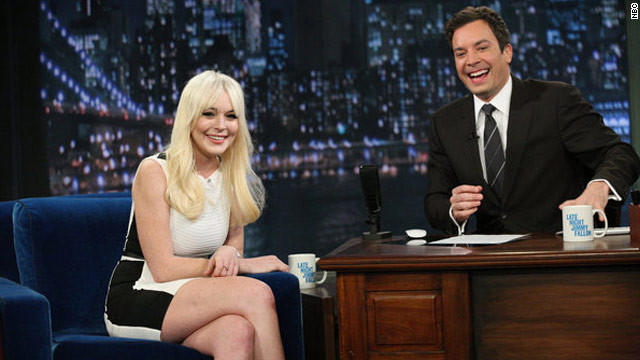 "Lindsay Lohan swung by Friday's episode of ""Late Night with Jimmy Fallon."""