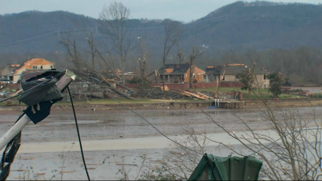 Chattanooga, Tennessee tornado damage from Marciano live shot.