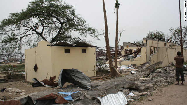 A view of the debris at the military barracks in the Mpila district of Brazzaville on March 5, 2012.