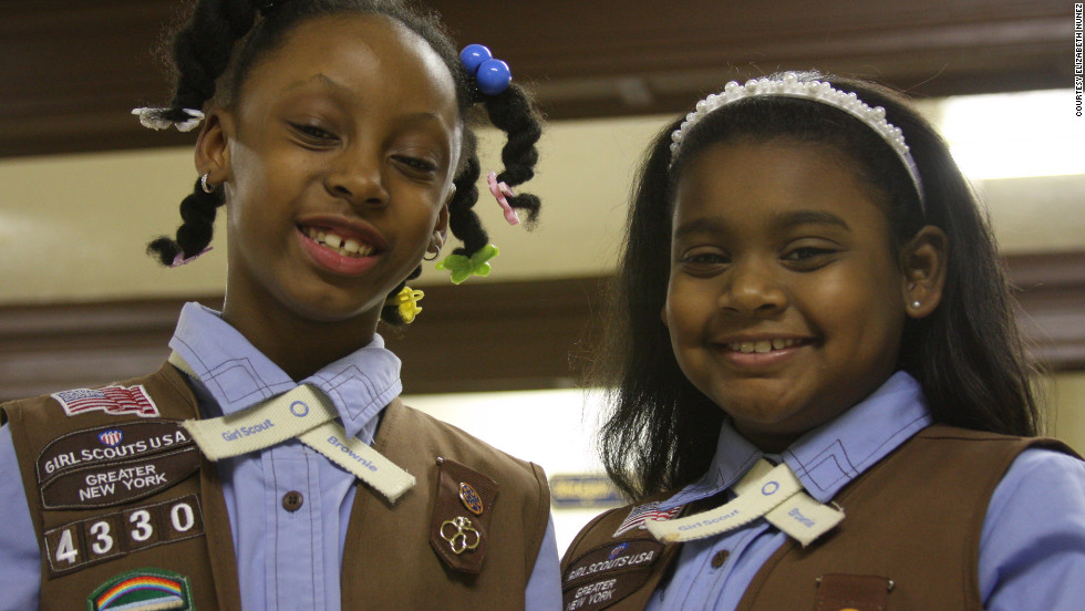 "<strong>Tyler Foster</strong> is seven years old (left) and joined the Girl Scouts with her<strong> </strong>neighbor<strong> Makayla Shields, </strong>eight years old. ""I joined so I can learn more things,"" Shields said. Foster's favorite Girl Scouts activity is selling cookies and going on trips. She wants to become a teacher someday, which according to a Girl Scouts' survey is one of the most popular professions among its members."