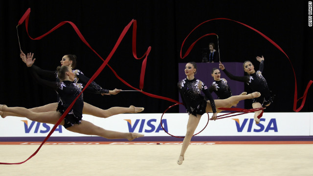 Britain's rhythmic gymnastics team competes in the Olympic test event in London.