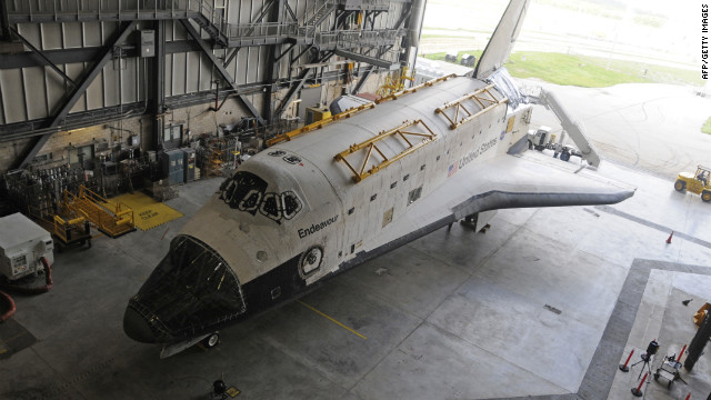 U.S. space shuttle Endeavour is parked on August 11, 2011, at Kennedy Space Center in Florida.
