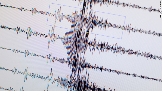 A monitor displays the seismological chart of the earthquake which hit Japan on March 11, 2011
