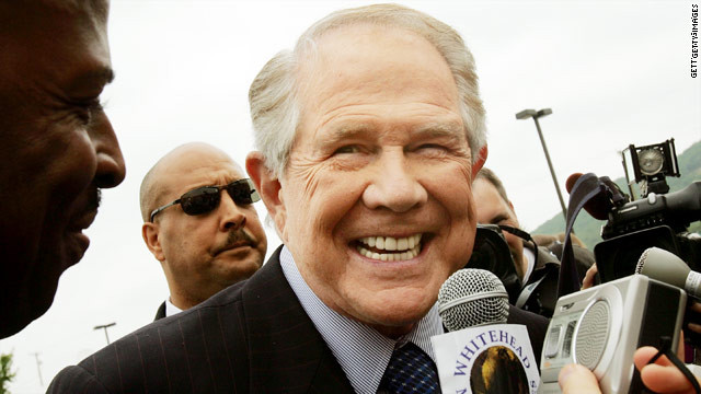 "Televangelist Pat Robertson says he'd like a ""vomit"" button on Facebook to note his displeasure over homosexuality."