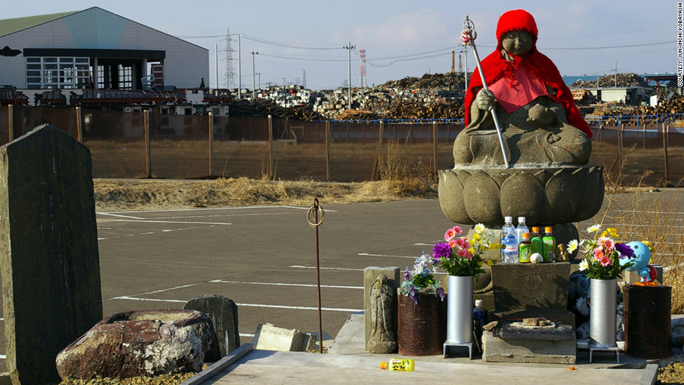 This statue in Miyagi is of Jizo Bosatsu, one of Buddha's disciples who guides dead children to heaven, said iReporter Jun-ichi Kobayashi. People leave offerings at the statue nearly every day.