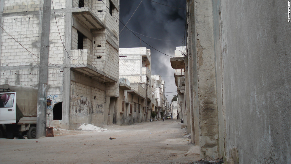 As the Syrian military rained fire on the restive city of Homs, many streets were deserted.