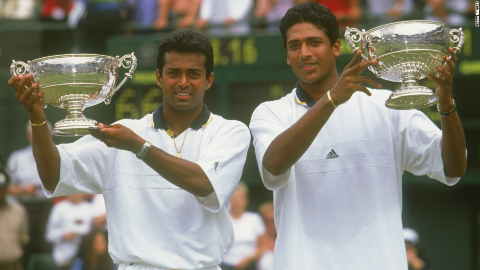 The veteran Bhupathi (R) has won a total of 11 grand slam titles during his career -- all in doubles. Three of his four men's crowns have come with compatriot Leander Paes, including Wimbledon in 1999.