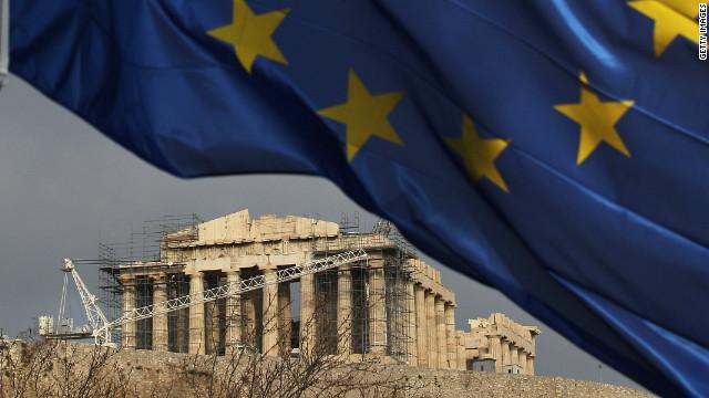 EU flag flies outside the Parthenon in Greece.