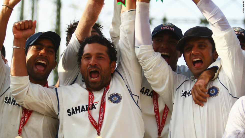 India, led by Dravid, earned a 1-0 win in England in 2007's four-Test series. Dravid is pictured here with fellow cricket legend Sachin Tendulkar, who is currently stuck on 99 international centuries in his bid to become the first man to reach 100 hundreds.