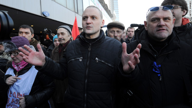 Sergei Udaltsov addresses protesters in Moscow shortly before his detention by police on Saturday.