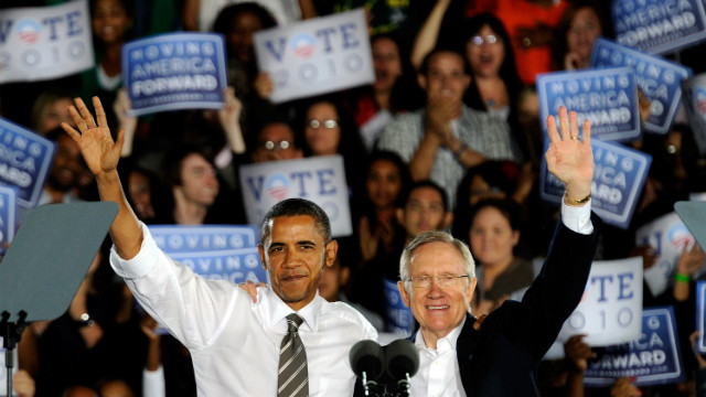 President Barack Obama and Senate Majority Leader Harry Reid appear at a campaign rally in Las Vegas, Nevada.