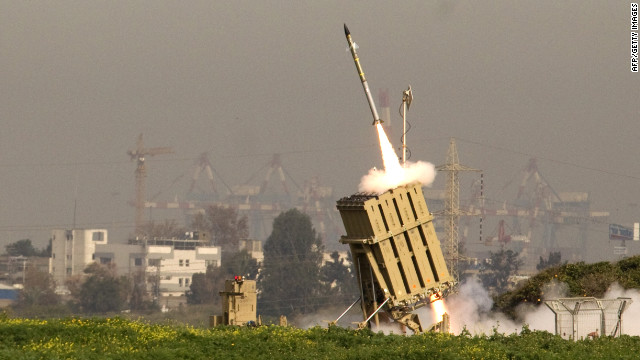 An Israeli missile is launched from the Iron Dome anti-rocket system in the city of Ashdod on Sunday.