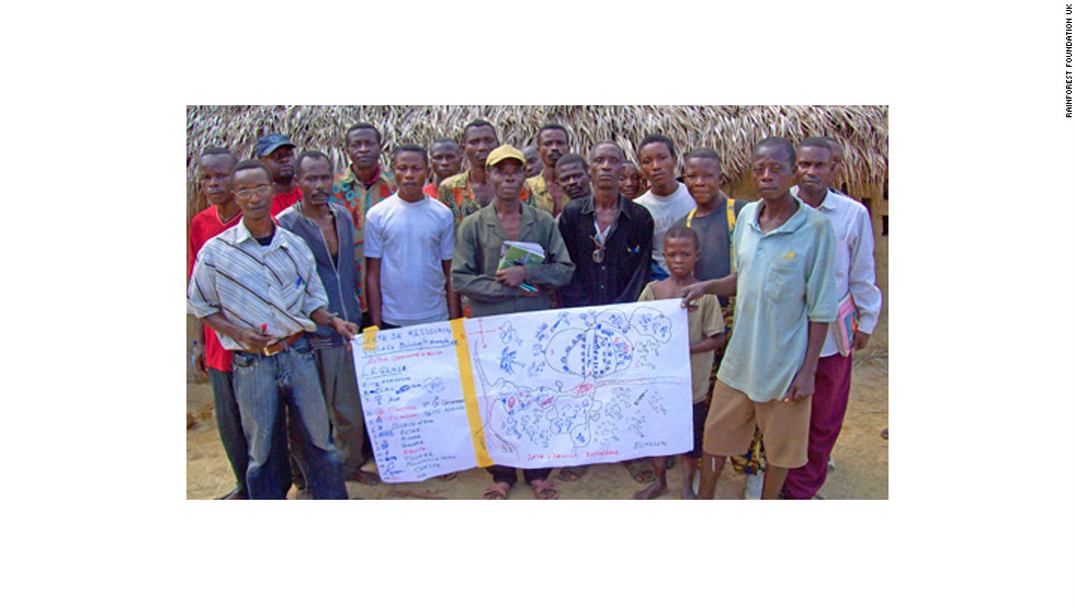 "The ""Mapping for Rights"" program trains forest people in the Congo Basin to map the land they live on.<br /><br />Pictured is an early sketch map produced by an indigenous community in the Inongo territory, in the Democratic Republic of Congo."