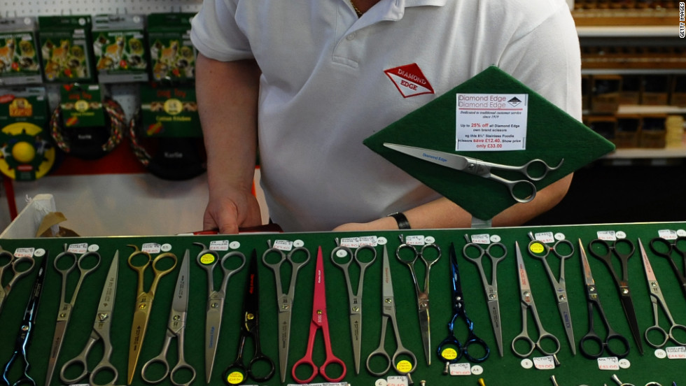 A stallholder looks at dog grooming items for sale at Crufts on Sunday.