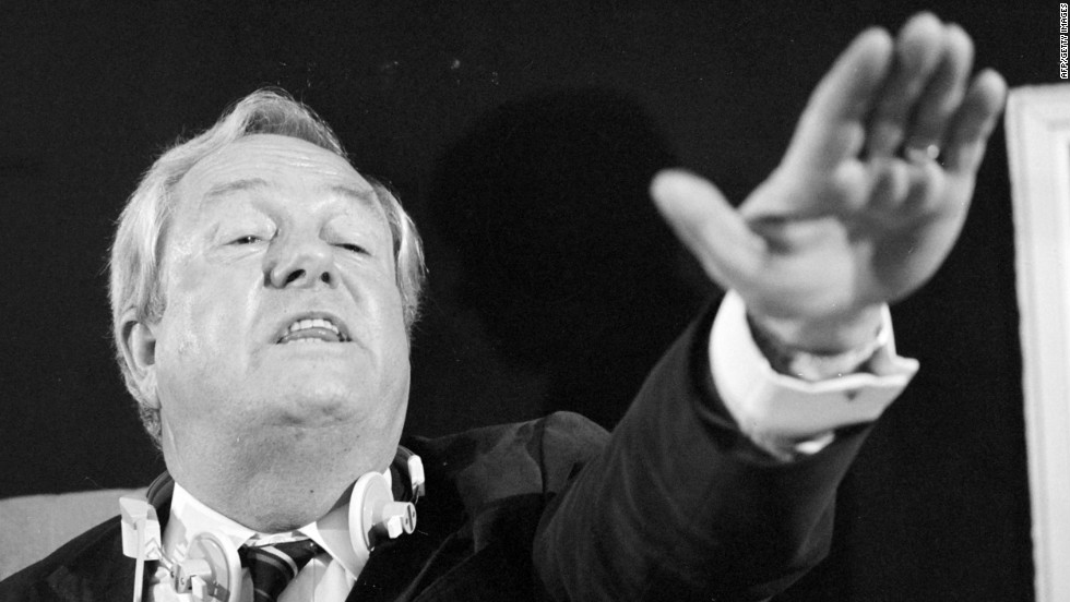 The National Front leader's father Jean-Marie Le Pen is pictured during a news conference at the European Parliament in Strasbourg in 1985.