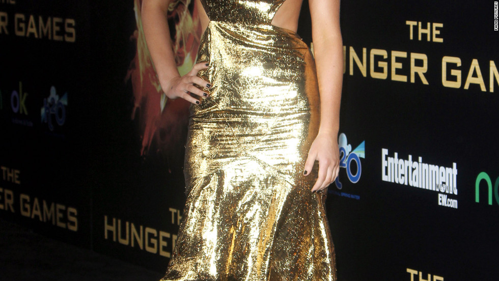 "Jennifer Lawrence attends the premiere of ""The Hunger Games"" in Los Angeles."