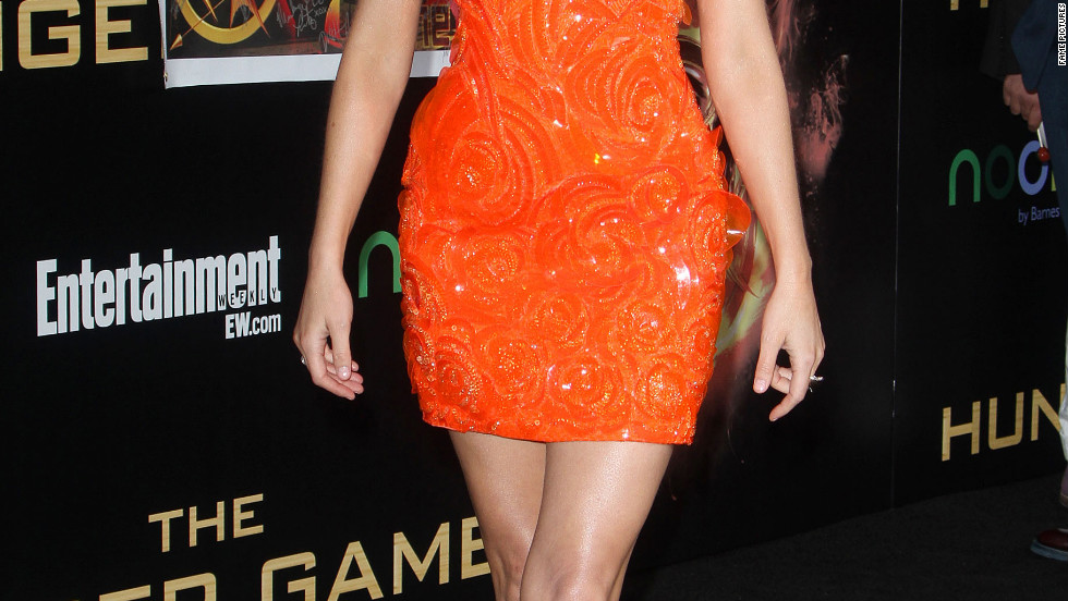 "Elizabeth Banks attends the premiere of ""The Hunger Games"" in Los Angeles."