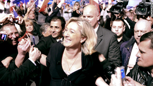 Marine Le Pen, French far-right Front National (FN), at the end of her campaign meeting, on March 4, 2012 in Marseille, southern France.