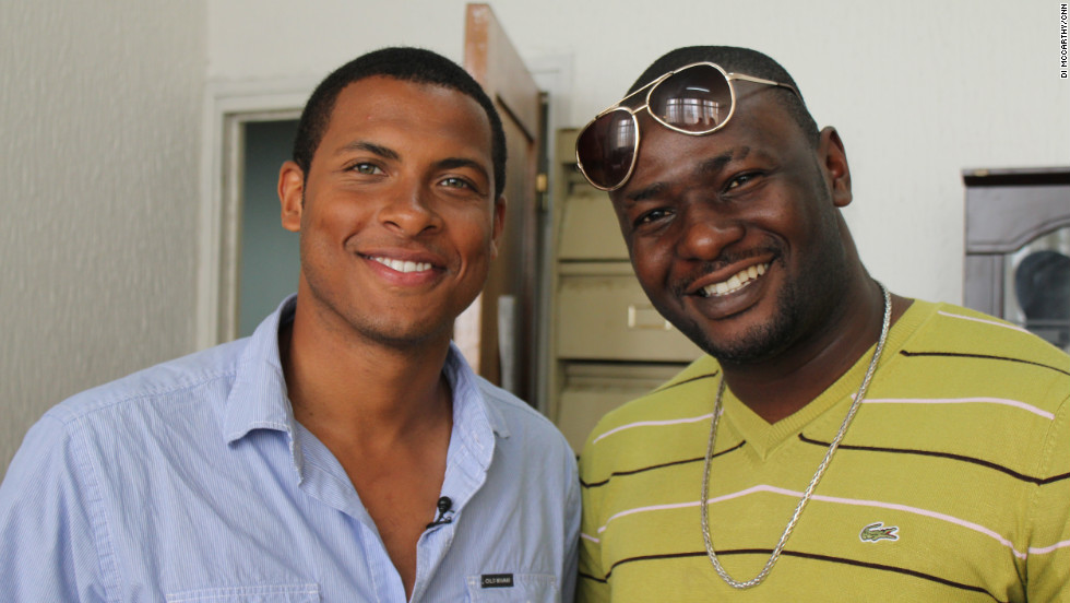 CNN's Errol Barnett with rapper Ba'Ponga at his day job at the Ministry of Culture.