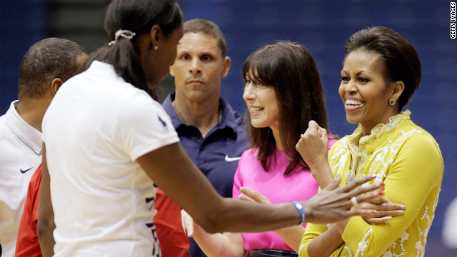 Michelle Obama, far right, and Samantha Cameron meet Olympic champions Dan O'Brien and Lisa Leslie.