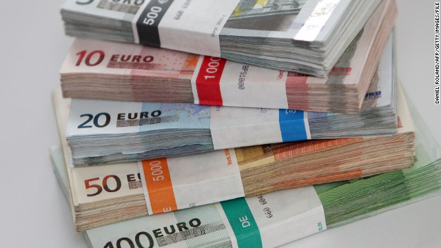 EURO banknotes are seen in a bank in Heidelberg, Germany, on December 14, 2011.
