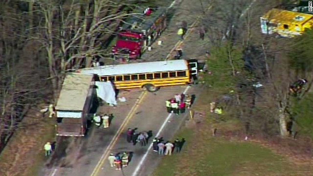 One person died and more than two dozen were hurt when a school bus collided with a truck in Pennsylvania.
