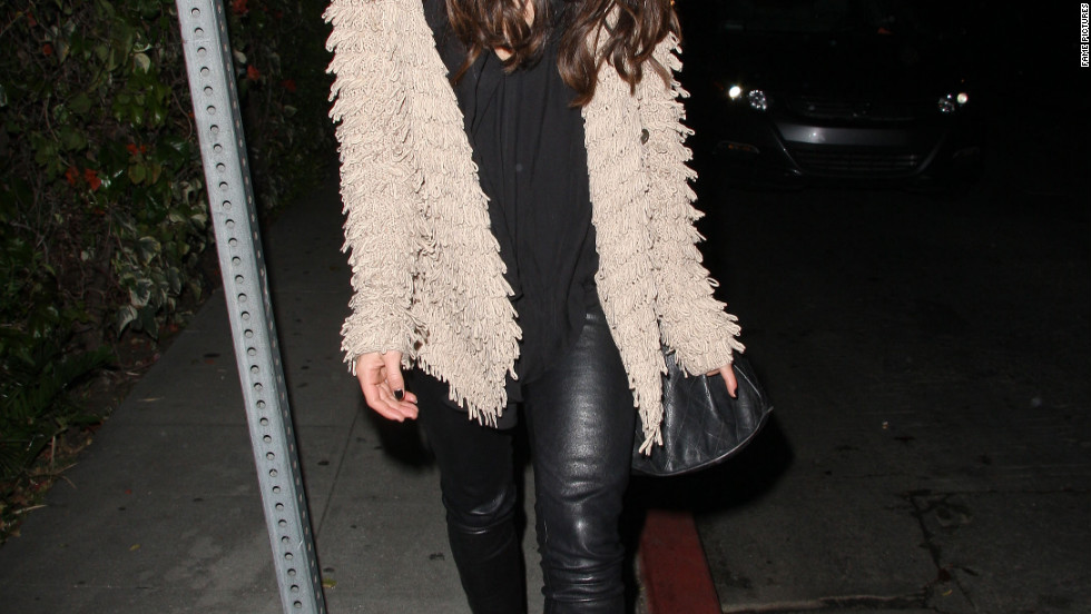 Shenae Grimes leaves a restaurant in West Hollywood.